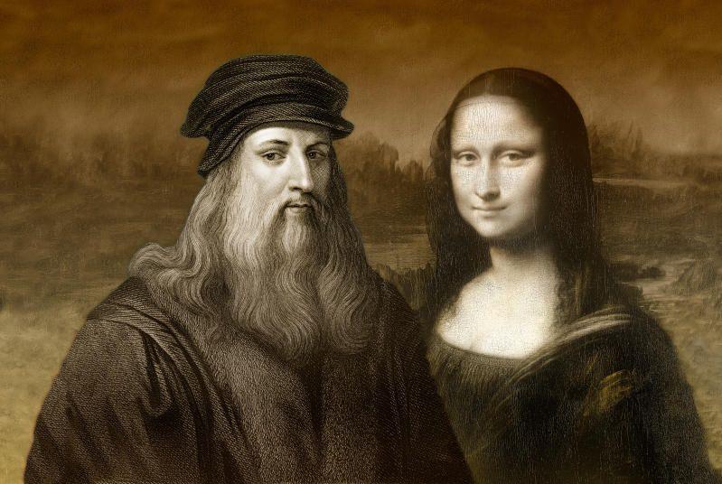 Um retrato de Leonardo Da Vinci ao lado de uma de suas obras mais famosas: Mona Lisa