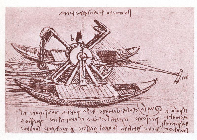 Leonardo da Vinci, projeto técnico de um barco fluvial.