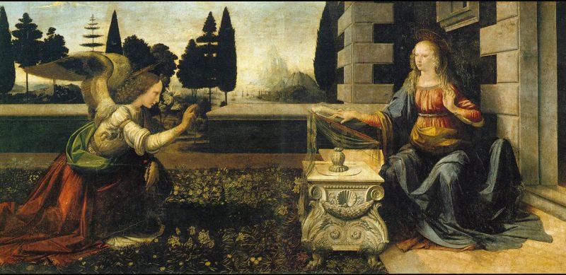 Leonardo da Vinci, A Anunciação.